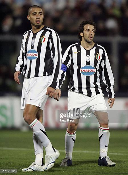 Alessandro Del Piero and David Trezuguet of Juventus in action during the Serie A match between Livorno and Juventus at the Stadio Armando Picchi on...