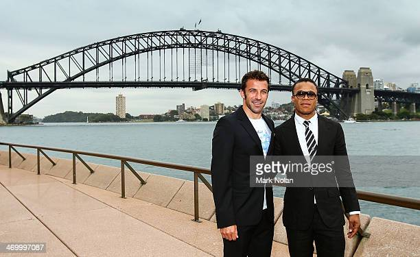 Alessandro Del Piero and Edgar Davids pose for a photo after a media opportunity ahead of the ALeague AllStars v Juventus FC match at Sydney Opera...