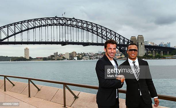 Alessandro Del Piero and Edgar Davids pose for a photo after a media opportunity ahead of the A-League All-Stars v Juventus FC match, at Sydney Opera...