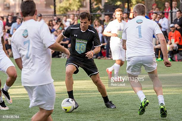 Alessandro Del Piero and Jay DeMerit compete during the Steve Nash Foundation Showdown at Sara D. Roosevelt Park on June 24, 2015 in New York City.