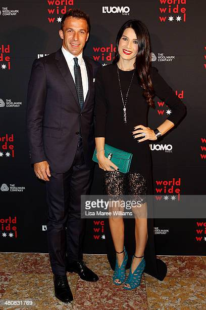 Alessandro Del Piero and Sonia Amoruso arrive at the L'Uomo Vogue and Woolmark Company Gala and Exhibition to celebrate L'Uomo Vogue magazine's March...