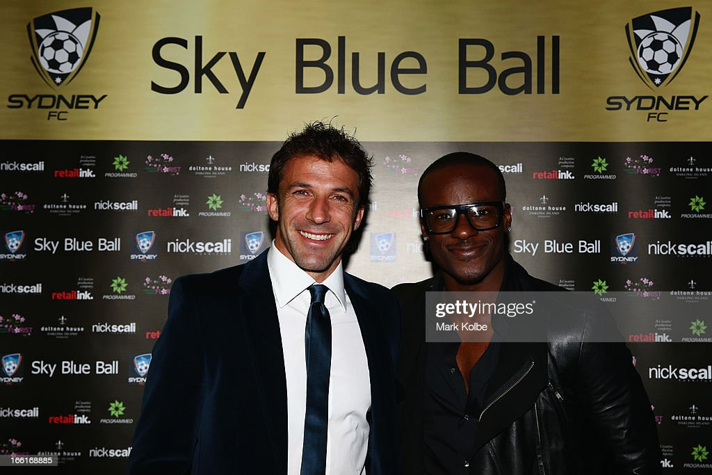 Alessandro Del Piero and Timomatic pose as on the red carpet at the Sydney FC Sky Blue Ball at Doltone House on April 9, 2013 in Sydney, Australia.