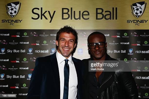 Alessandro Del Piero and Timomatic pose as on the red carpet at the Sydney FC Sky Blue Ball at Doltone House on April 9 2013 in Sydney Australia
