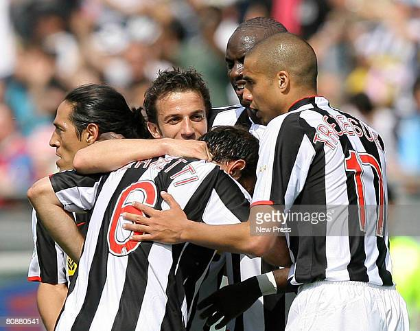 Alessandro Del Piero Cristiano Zanetti and David Trezeguet of Juventus celebrate during the Serie A match between Juventus and Lazio at the Stadio...