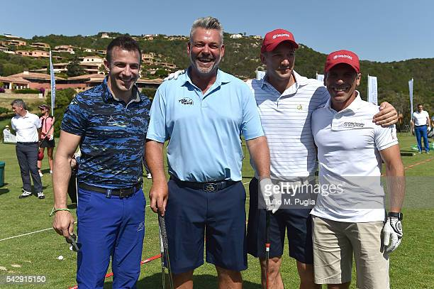 Alessandro Del Piero Darren Clarke Andriy Shevchenko and Gianfranco Zola pose during The Costa Smeralda Invitational golf tournament at Pevero Golf...