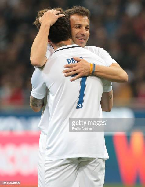 Alessandro Del Piero embraces Alexandre Pato during Andrea Pirlo Farewell Match at Stadio Giuseppe Meazza on May 21 2018 in Milan Italy