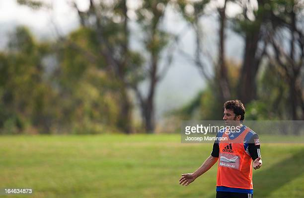 Alessandro Del Piero looks on during a Sydney FC training session at Macquarie Uni on March 26 2013 in Sydney Australia
