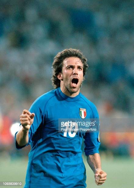 Alessandro Del Piero of Italy celebrates after scoring during the UEFA Euro 2000 Group B match between Italy and Sweden at the Philips Stadion on...