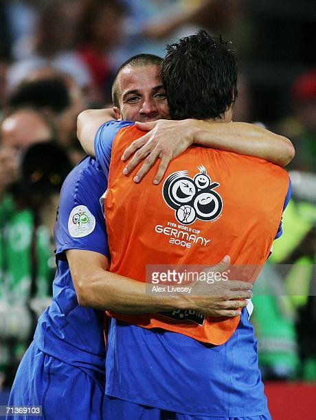 Alessandro Del Piero of Italy celebrates his team's victory at the end of the FIFA World Cup Germany 2006 Semifinal match between Germany and Italy...