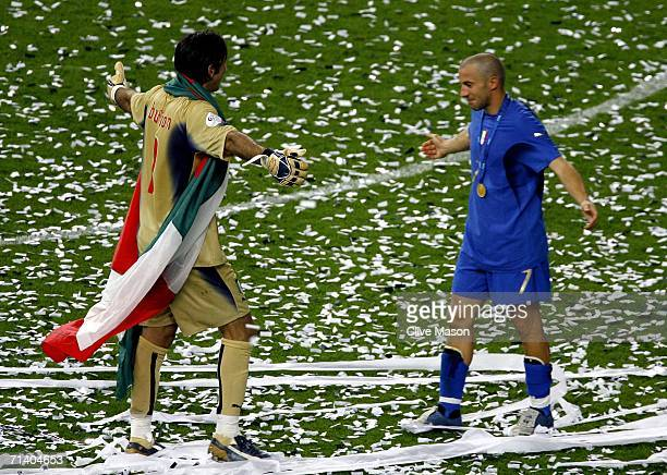 Alessandro Del Piero of Italy embraces Goalkeeper Gianluigi Buffon of Italy following their team's victory in a penalty shootout at the end of the...
