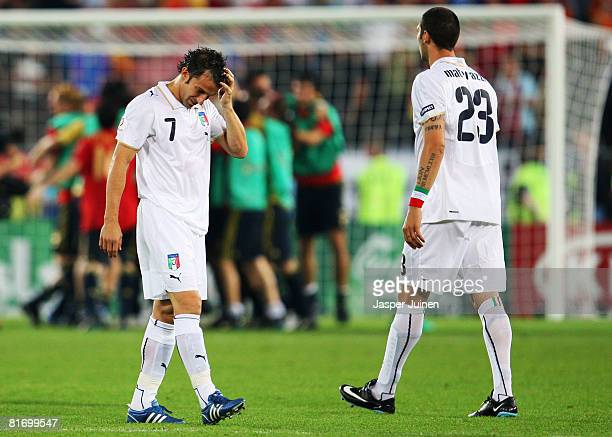 Alessandro Del Piero of Italy looks down with Marco Materazzi of Italy after the UEFA EURO 2008 Quarter Final match between Spain and Italy at Ernst...