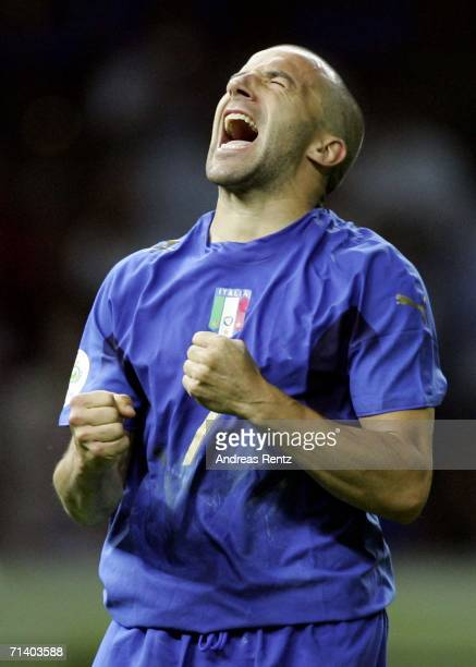 Alessandro Del Piero of Italy reacts after teammate Fabio Grosso, scores the matchwinning penalty during the FIFA World Cup Germany 2006 Final match...