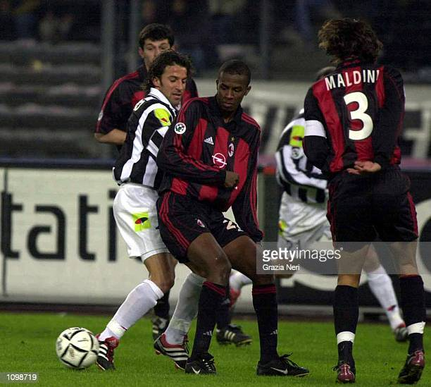Alessandro Del Piero of Juventus and Roque Junior of AC Milan during a SERIE A 20th Round League match between Juventus and AC Milan played at the...