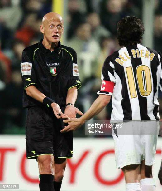 Alessandro Del Piero of Juventus appeals to referee Pier Luigi Collina during the Serie A match between Fiorentina and Juventus at Artemio Franchi on...