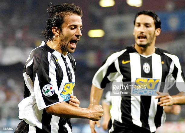 Alessandro Del Piero of Juventus celebrates a goal against Sampdoria during the Serie A match at Marassi Stadium September 22 2004 in Genova Italy