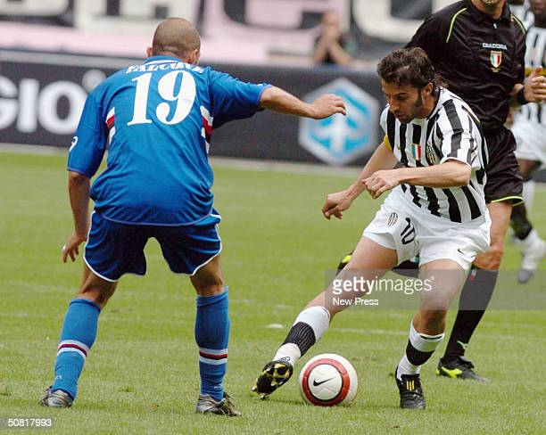 Alessandro Del Piero of Juventus competes with Giulio Falcone of Sampdoria during the Serie A match between Juventus and Sampdoria played at the...