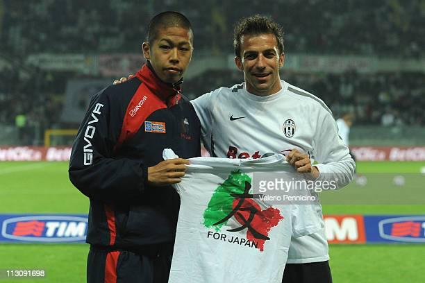 Alessandro Del Piero of Juventus FC and Takayuki Morimoto of Catania Calcio prior to the Serie A match between Juventus FC and Catania Calcio at...