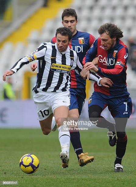 Alessandro Del Piero of Juventus FC battles for the ball with Marco Rossi of Genoa CFC during the Serie A match between Juventus FC and Genoa CFC at...
