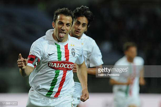 Alessandro Del Piero of Juventus FC celebrates a goal during the Serie A match between Juventus FC and AC Chievo Verona at Olimpico Stadium on May 9...