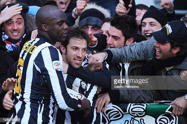 Alessandro Del Piero of Juventus FC celebrates after scoring the opening goal with fans during the Serie A match between Juventus FC and AS Bari at...