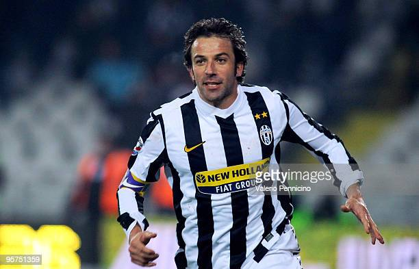 Alessandro Del Piero of Juventus FC celebrates his first goal during the Tim Cup match between Juventus FC and SSC Napoli at Olimpico Stadium on...