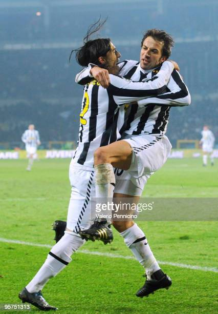 Alessandro Del Piero of Juventus FC celebrates his first goal with Jose Martin Caceres during the Tim Cup match between Juventus FC and SSC Napoli at...