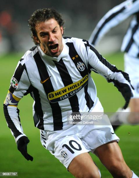 Alessandro Del Piero of Juventus FC celebrates his opening goal during the Serie A match between Juventus FC and AS Roma at Olimpico Stadium on...