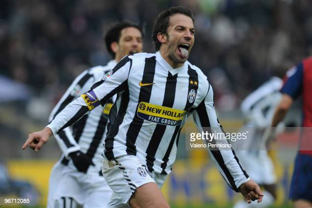 Alessandro Del Piero of Juventus FC celebrates his second goal during the Serie A match between Juventus FC and Genoa CFC at Stadio Olimpico on...