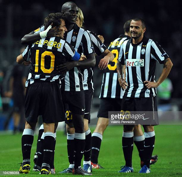 Alessandro Del Piero of Juventus FC celebrates with his team mates after scoring during the UEFA Europa League group A match Juventus FC and KKS Lech...
