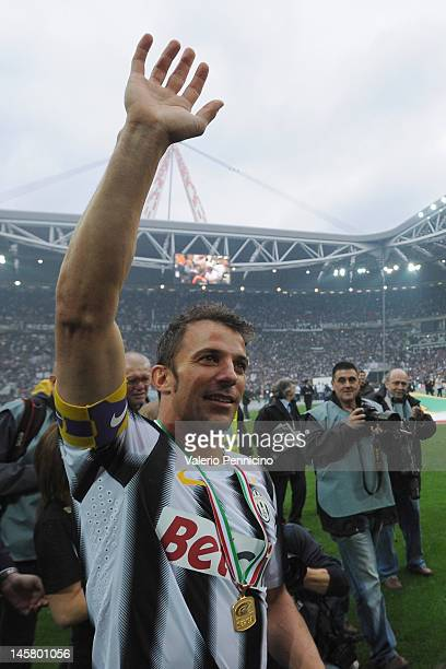 Alessandro Del Piero of Juventus FC salutes the fans after the Serie A match between Juventus FC and Atalanta BC at Juventus Stadium on May 13 2012...