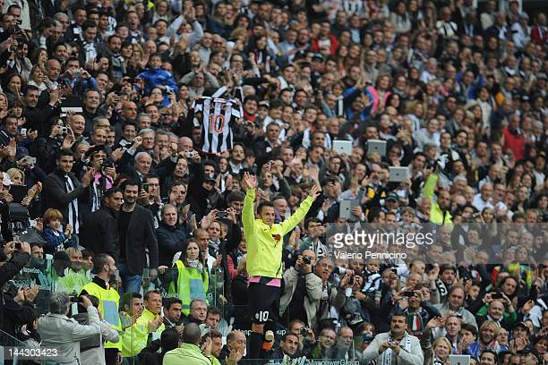 Alessandro Del Piero of Juventus FC salutes the fans during his final game for the club, the Serie A match between Juventus FC and Atalanta BC at...