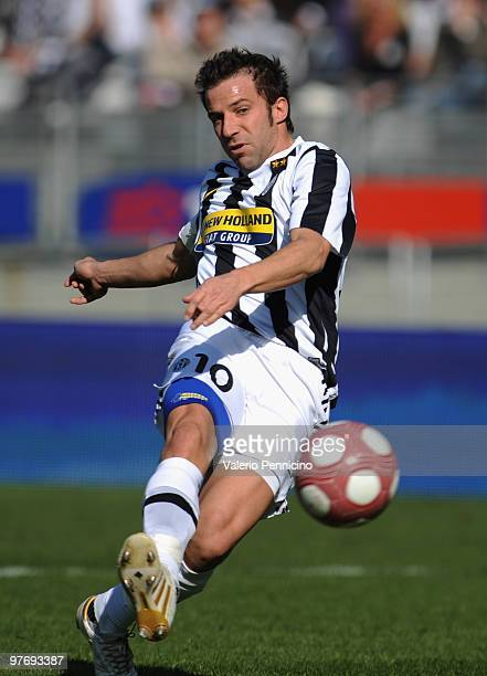 Alessandro Del Piero of Juventus FC scores his second goal during the Serie A match between Juventus FC and AC Siena at Stadio Olimpico di Torino on...
