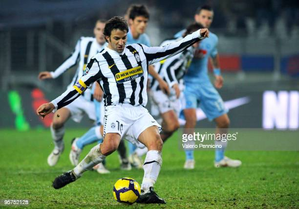 Alessandro Del Piero of Juventus FC scores his second goal from the penalty spot during the Tim Cup match between Juventus FC and SSC Napoli at...