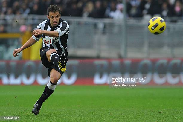 Alessandro Del Piero of Juventus FC shoots during the Serie A match between Juventus FC and AC Cesena at Olimpico Stadium on November 7, 2010 in...