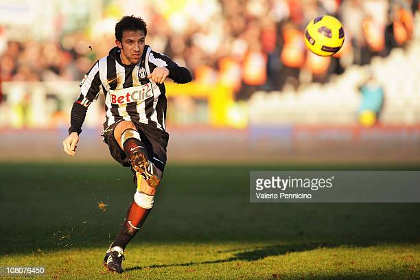 Alessandro Del Piero of Juventus FC takes a free kick during the Serie A match between Juventus FC and AS Bari at Olimpico Stadium on January 16,...