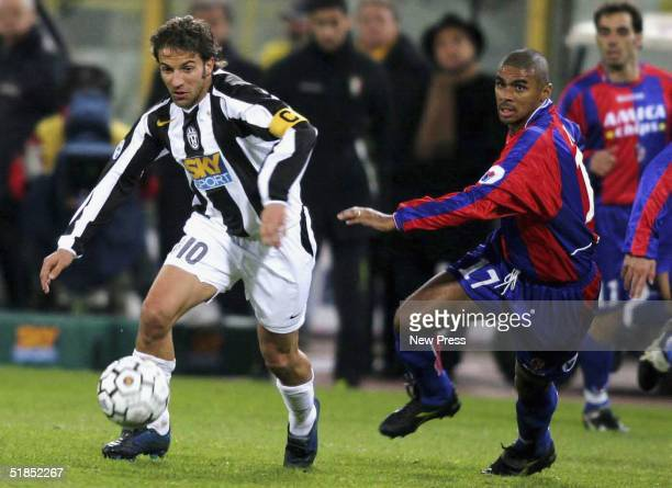 Alessandro Del Piero of Juventus is shadowed by Juarez of Bologna during the Bologna v Juventus Serie A match played at the Renato Dall'Ara December...