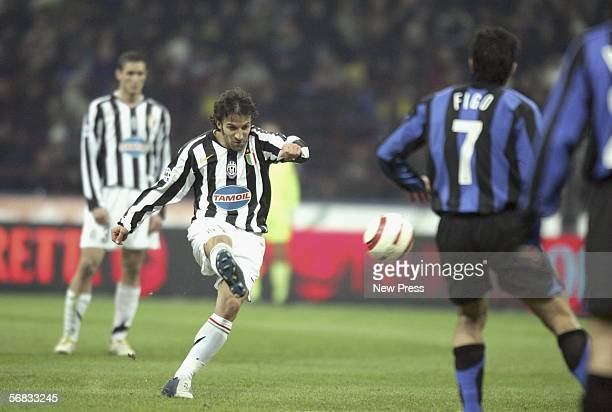 Alessandro Del Piero of Juventus scores a goal during the Serie A match between Inter Milan and Juventus at the Giuseppe Meazza San Siro Stadium on...