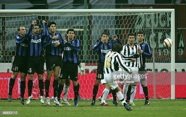 Alessandro Del Piero of Juventus scores the winning goal from a free kick during the Serie A match between Inter Milan and Juventus at the Stadio San...