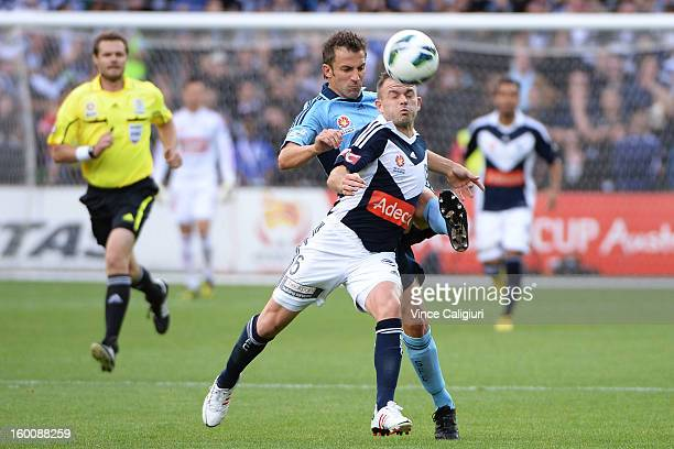 Alessandro Del Piero of Sydney and Leigh Broxham of the Victory contest for the ball during the round 18 ALeague match between the Melbourne Victory...
