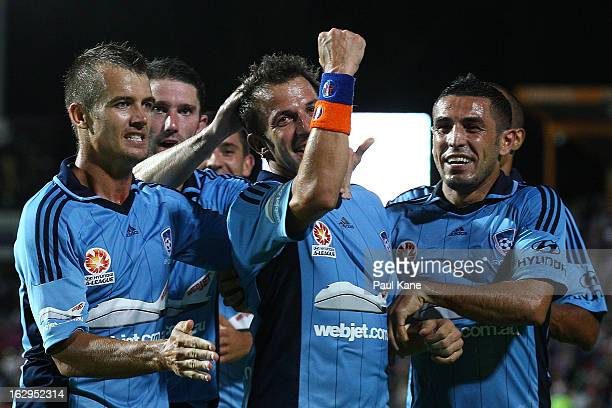 Alessandro Del Piero of Sydney celebrates a goal during the round 23 ALeague match between the Perth Glory and Sydney FC at nib Stadium on March 2...