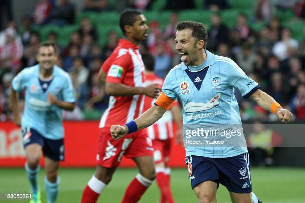 Alessandro Del Piero of Sydney celebrates after scoring a goal during the round six ALeague match between the Melbourne Heart and Sydney FC at AAMI...