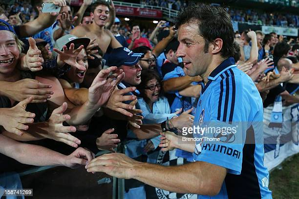 Alessandro Del Piero of Sydney celebrates with fans following the round 13 ALeague match between Sydney FC and the Central Coast Mariners at Allianz...