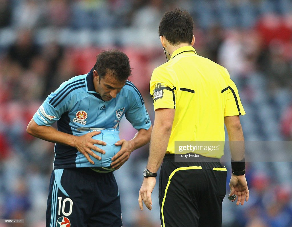 Alessandro Del Piero of Sydney cleans the ball before taking a free kick during the round 19 A-League match between the Newcastle Jets and Sydney FC at Hunter Stadium on February 2, 2013 in Newcastle, Australia.