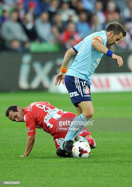 Alessandro Del Piero of Sydney controls the ball past Massimo Murdocca of the Heart during the round six ALeague match between the Melbourne Heart...