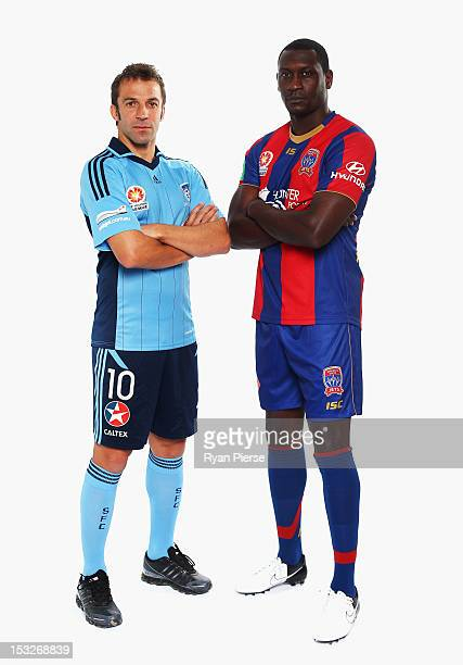 Alessandro Del Piero of Sydney FC and Emile Heskey of Newcastle Jets pose during a 2012/13 ALeague player portrait session at Parramatta Stadium on...