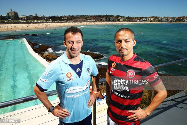 Alessandro Del Piero of Sydney FC and Shinji Ono of the Western Sydney Wanderers pose during the launch of the ALeague's Summer of Football at Bondi...