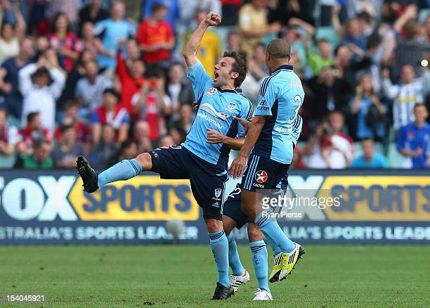 Alessandro Del Piero of Sydney FC celebrates after scoring his team's first goal during the round two ALeague match between Sydney FC and the...