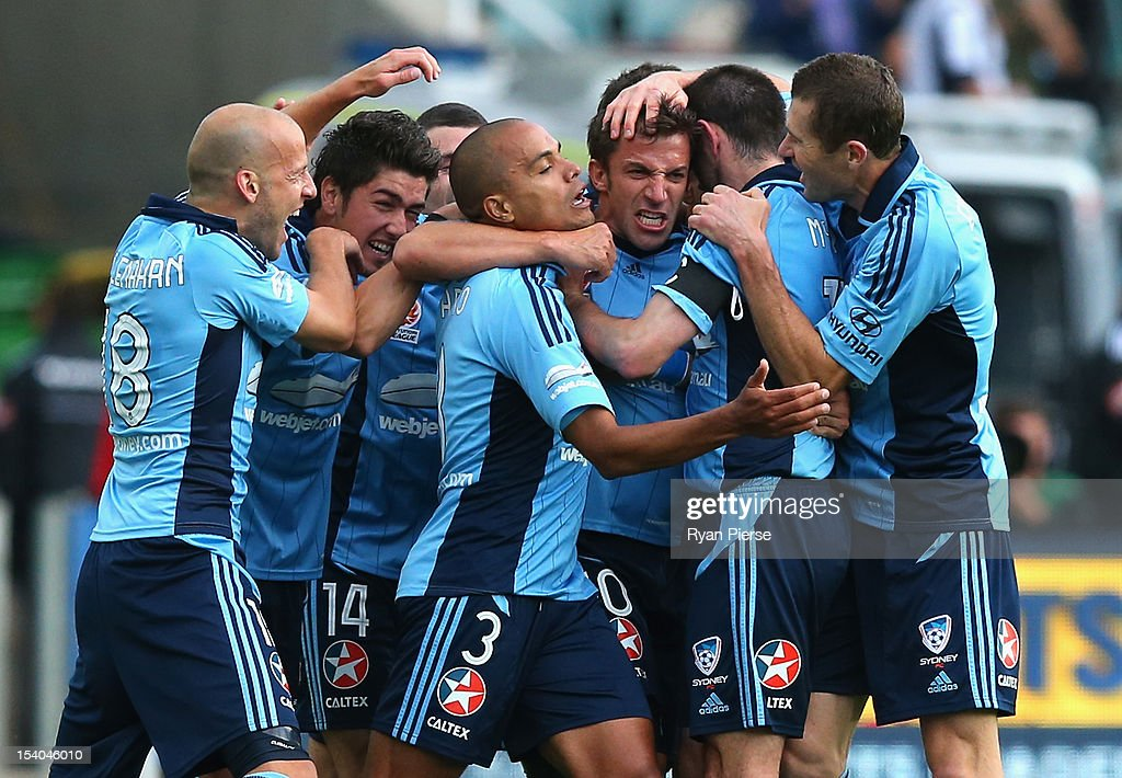 Alessandro Del Piero of Sydney FC celebrates after scoring his team's first goal during the round two A-League match between Sydney FC and the Newcastle Jets at Allianz Stadium on October 13, 2012 in Sydney, Australia.