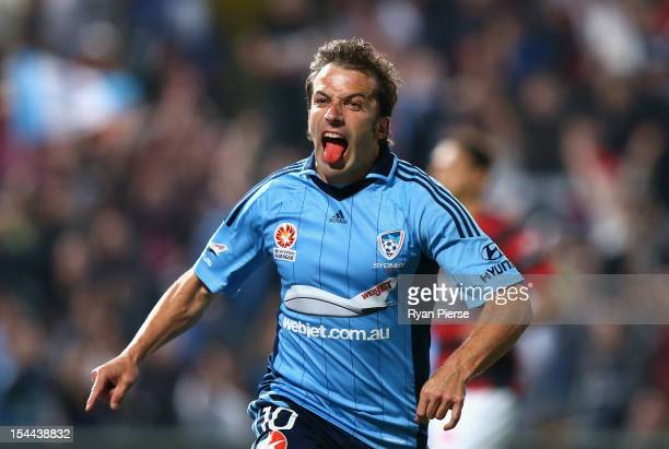 Alessandro Del Piero of Sydney FC celebrates after scoring his team's first goal during the round three ALeague match betwen the Western Sydney...