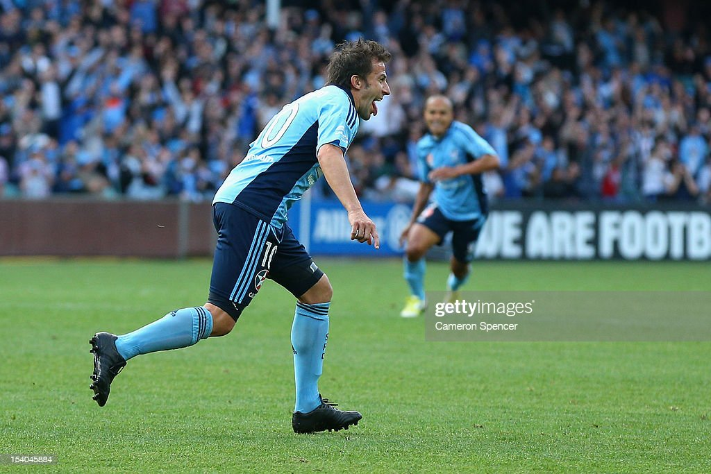 Alessandro del Piero of Sydney FC celebrates kicking a penalty goal during the round two A-League match between Sydney FC and the Newcastle Jets at Allianz Stadium on October 13, 2012 in Sydney, Australia.